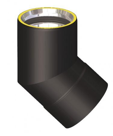Canna fumaria coibentata acciaio nero - Curva 45°