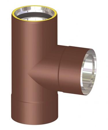 Canna fumaria coibentata acciaio marrone - Raccordo a T 90°