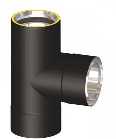 Canna fumaria coibentata acciaio nero - Raccordo a T 90°