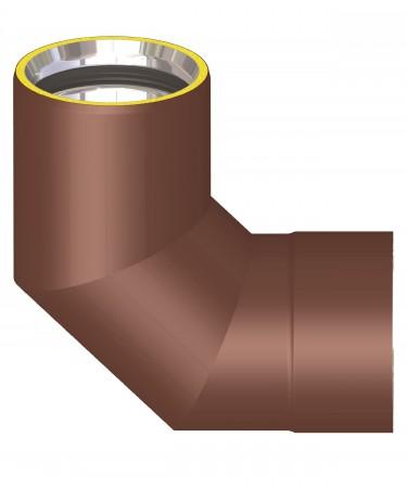 Canna fumaria coibentata acciaio marrone - Curva 90°
