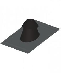 Canna fumaria coibentata acciaio nero - Faldale per tetto inclinato base piombo con scossalina regolabile