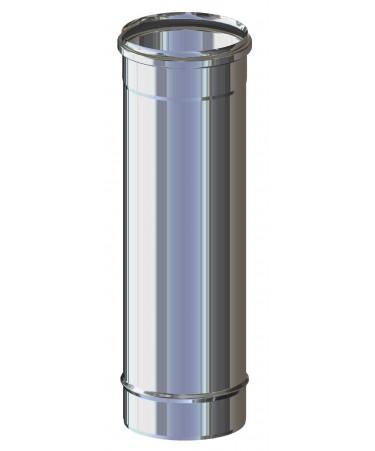 TUBO CANNA FUMARIA L.500 M/F ACCIAIO INOX MONO PARETE